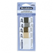 Beadalon draad zijde 5st. Black, White, Grey, Beige, Brown
