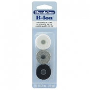 B-Lon nylon draad Beadalon 3st. Black, Grey, White
