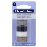 Nymo wire Beadalon 0.3mm 4-pack White, grey, brown, black