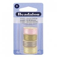 Nymo wire Beadalon 0.3mm 4-pack Pink, sand ash grey, creme white, gold