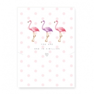 "Wenskaart voor sieraden ""You are one in a million"" met flamingo White-pink"