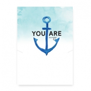 "Wenskaart voor sieraden ""You are my anchor"" White-blue"