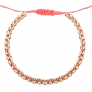 Hippe armbanden strass Coral pink-crystal