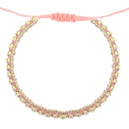 Hippe armbanden strass Dark peached pink-crystal