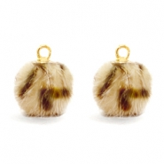 Bedel pompom faux fur leopard Light brown