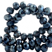 Facet kralen top quality disc 6x4 mm Dark greige montana blue-top shine coating