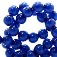 Polaris kralen 6 mm rond pearl shine Cobalt blue