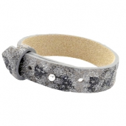 Armbanden Cuoio leer 15 mm voor 20 mm cabochon Rock ridge grey Panther