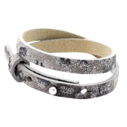 Armbanden Cuoio leer 8 mm dubbel voor 12 mm cabochon Rock ridge grey Panther