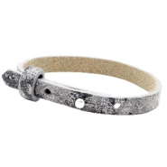 Armbanden Cuoio leer 8 mm voor 12 mm cabochon Rock ridge grey Panther