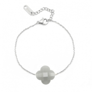 Armbanden van Stainless steel Roestvrij staal (RVS) Sisa met facet fashion klaver Light grey