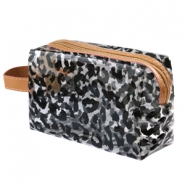 Make-up tas leopard Transparant-black