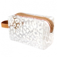 Make-up tas leopard Transparant-white