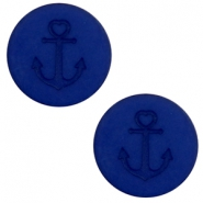 12 mm platte Polaris Elements cabochon anker Cobalt blue