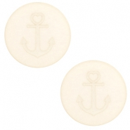 20 mm platte Polaris Elements cabochon anker Cloud cream white