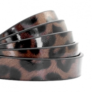 10 mm plat imi leer leopard print Chocolate brown
