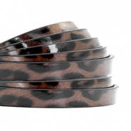 5 mm plat imi leer leopard print Chocolate brown