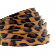 5 mm plat imi leer leopard print Honey brown