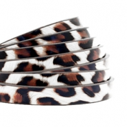 5 mm plat imi leer leopard print White-brown