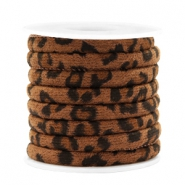 Trendy koord gestikt leopard print 6x4mm Walnut brown