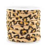 Trendy koord gestikt leopard print 6x4mm Camel brown