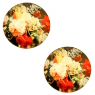 Cabochons basic 12mm Flowers-multicolour red