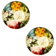 Cabochons basic 12mm Flowers-multicolour pink