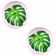 Cabochons basic 20mm Tropical palm leaf-palace rose