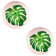 Cabochons basic 12mm Tropical palm leaf-creamy peach