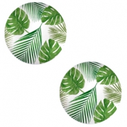Cabochons basic 12mm Tropical leaves-white