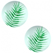 Cabochons basic 20mm Fern leaf-light turquoise blue