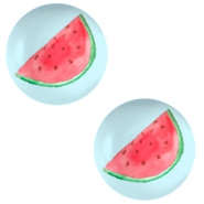 Cabochons basic 12mm Watermelon-sky blue