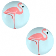 Cabochons basic 20mm Flamingo-sky blue