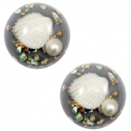 Cabochons basic met schelp 20mm Grey