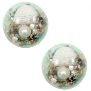 Cabochons basic met schelp 20mm Turquoise green