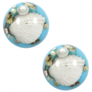 Cabochons basic met schelp 20mm Sky blue