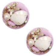 Cabochons basic met schelp 20mm Lilac purple