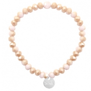 Facet armbanden Sisa top quality 6x4mm (RVS bedel) Light rose-rosegold half pearl top shine coating