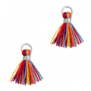 Kwastje 1cm Zilver-Multi colour red blue