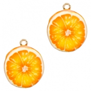 Basic quality metaal bedel orange 21mm Gold-orange