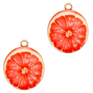 Basic quality metaal bedel grapefruit 21 mm Gold-fresh coral pink