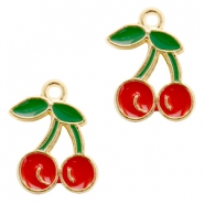 Basic quality metaal bedel cherry Gold-red green
