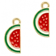Basic quality metaal bedel watermelon Gold-red green