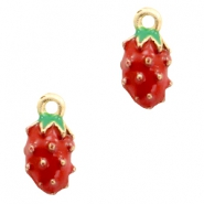 Basic quality metaal bedel strawberry Gold-red green