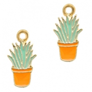 Basic quality metaal bedel cactus Gold-orange light blue