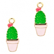Basic quality metaal bedel cactus Gold-pink green