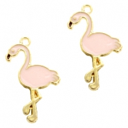Basic quality metaal bedel flamingo Gold-light pink