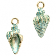 Basic quality metaal bedel shell Gold-turquoise blue