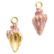 Basic quality metaal bedel shell Gold-pink