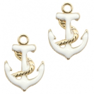 Basic quality metaal bedel anchor Gold-white